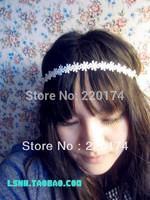 High quality White flower wedding hair accessories bridal head bands stretch elastic headbands for women hair band