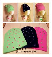 Fashion 3Color Black green pink cotton spikes hat hair acessories for hair turban elastic headbands crochet headband hair band