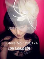 Wedding hair accessories bridal white lvory black 3Color flowers fascinator headbands  birdcage veil hats for women