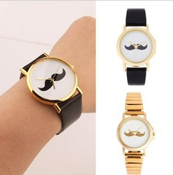 Freeshipping Creative 2013 New Arrival Fashion Unisex black strap watchband beard watch mustache Quarz watch Christmas gift(China (Mainland))