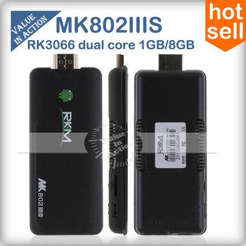 MK802 IIIS Dual Core Smart TV Box Android 4.1.1 RK3066 1.6Ghz Cortext-A9 1GB RAM 8GB ROM 3D Gaming Bluetooth Mini PC