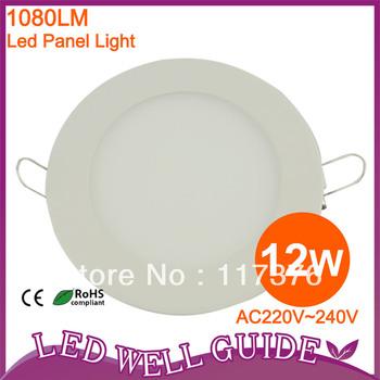 Hot sale 2pcs/lot led panel light 12W SMD3014,AC85-265V,1080LM CE&ROHS Alumium,Warm white/Cool white, FREE SHIPPING CHINA POST