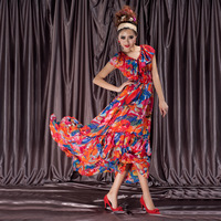 2013 new summer fashion chiffon printed red loose long dress for women free shipping WQL192