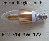 3W 12V E12 Led candle bulb ,E14 Led glass bulb lamp,warm white 2800-3500k  cool white 5500-7000k  SMD5730  free shipping