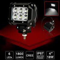 4X 4WD 18W Cree LED Work Light Pickup 4x4 12V/24V car off-road light Van Camper SUV ATV Spot Beam Driving Wagon pick-up UTV