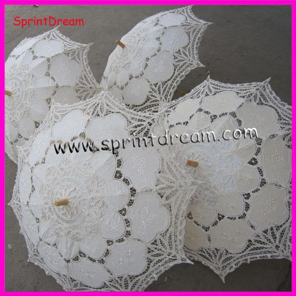 (10pcs/lot) sombrinha 100% algodão artesanato, guarda-chuva de algodão, battenburg rendas guarda-chuva(China (Mainland))