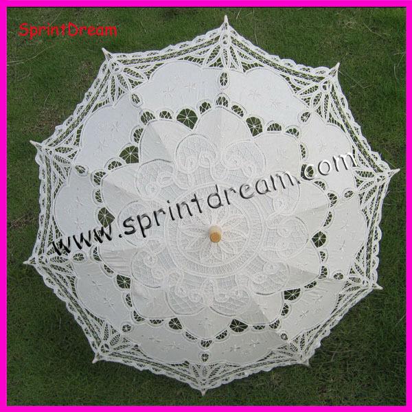 ( 1pc/lote) frete grátis! 100% artesanato de algodão algodão guarda-sol, guarda-chuva, guarda-chuva battenburg renda(China (Mainland))