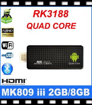 New Arrival RK3188 Quad Core MINI PC MK809III Andriod 4.1 OS 1.6GHz 2GB RAM 8GB Bluetooth WIFI HDMI 1080P Google Smart TV Box