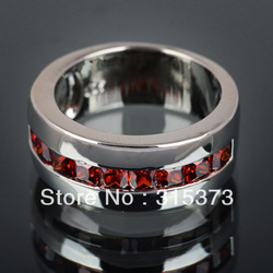 Free Shipping 2013 new Size 7 Stunning Red garnet topaz women's Silver ring jewelry Fashion jewelry(China (Mainland))