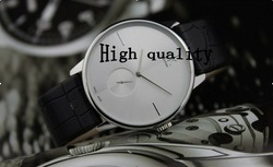 High quality fashion simple double clock mechanism genuine leather men watch ladies couple watches 1pcs(China (Mainland))