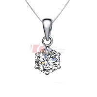 LQ Fine Jewelry Sterling Silver 925 Pendant Cupid Cutting Swiss Diamond Necklace Pendant PD0001