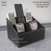 3 slot leather desk organizer box remote controllers storage box case sundries box A097