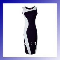 Fashion summer clothes women 2013 one-piece dress geometry design dark blue white arc patchwork knitted dresses