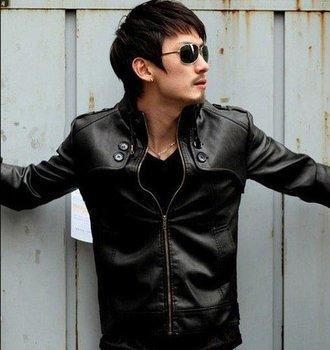 2013 New Arrival Fashion Classic Mens PU Leather Coat Short Clothing Length Full Sleeve High Quality Jacket lx396