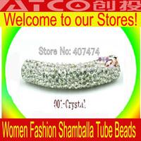 10pcs/Lot Free shipping White Shamballa long crystal tube CZ Disco Ball beads Fit Shambhala Jewelry DG015