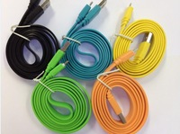 Wholesale - 1m Noodle Micro USB Cable Data Sync Charger Cable for Samsung i9300 Galaxy S4 S3 HTC nokia 2000pcs/lot