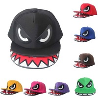 DHL Free Shipping~10pcs/lot~Super cool shark mouth hat,Shark mouth hip-hop Snapback cap,Double brim models,Truck caps,10colors