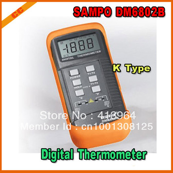 SAMPO DM6802B Dual Two Channel K Type Digital Thermometer,2pcs/lot free shipping