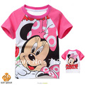 Free shipping,6sets/lot(95-140)cartoon mini printing girl short-sleeved shirt,lovely pink baby t-shirt,100%cotton material(China (Mainland))