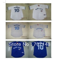Cool Base Jersey Blue Jays Edwin Encarnacion #10 Royal Blue White Gray -Free Shipping