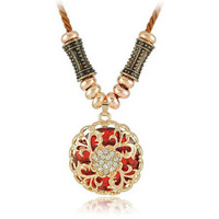N1523 hollow-out flower necklace restoring ancient ways round big gem necklace woven by hand Mixed colors Free Shipping