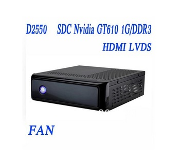 New Mini Desktop pc, SDC Nvidia GT610 1G/DDR3, LVDS, MSATA,2G RAM, 16G SSD, or 80G HDD, D2550 1.86Ghz,IN-D255T