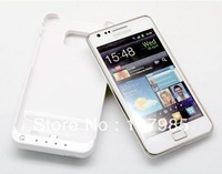 WhiteHighly Capacity 2000mAh External Backup Battery Case for Samsung Galaxy S2 i9100,Free Shipping,with retail package