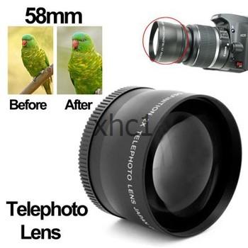 2X 58mm Professional Telephoto Lens for Canon 350D / 400D 450D 500D 1000D 550D 600D 1100D Free Shipping Support Big Wholesale
