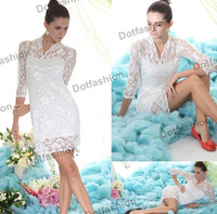 2014 New Designer Spring Hot Sale Fashion Women Vintage White Vintage Lace Fitted Dress