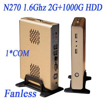 Good use atom pc with 2G RAM 1000G HDD intel atom n270 1.6ghz fanless allumim chassis 1 com port 6 usb