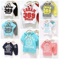 2013New Children Suits Girl Boy Sports Suits Kids Clothing Set Baby Hooded T-shirt+pant Summer NEBRAKA WESLEYAN CREAM 369 SUGARY