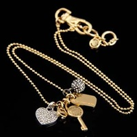 Freeshipping quality crystal key heart pendent necklace