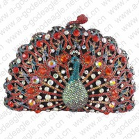 Hot handmade red HK AB crystal animal clutch bag for elegant ladies on parties free DHL shipping