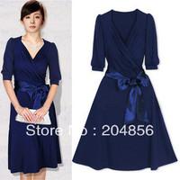 free shipping one-piece dress women's fashion formal dress V-neck slim british style skirt mm female skirt spring and autumn