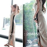 free shipping Contraction dress casual drawstring ultra long skirt bohemia beach dress full dress