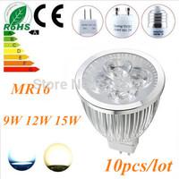 Free shipping 10X Dimmable 12W MR16 GU10 E27 B22 E14 GU5.3 High Power LED Light Bulb Spot Lamp Spotlight Downlight LED Lighting