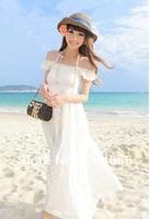 Beach dress bohemia lace decoration full dress solid color cotton cloth tube top two ways slit neckline one-piece dress