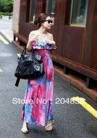 Free Shipping Fashion bohemia tie-dyeing ruffle spaghetti strap one-piece dress mopping the floor dress full beach dress
