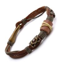 "15mm Brown Tribal Leather Wristband Surf Mens Bracelet 8.9"" B524"