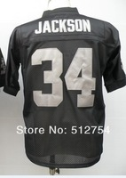 #34 Bo Jackson Jersey,Throwback Football Jersey,Best quality,Authentic Jersey,Size M--3XL,Accept Mix Order