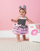 Hot sell ! High quality children party dress Baby cake dress pink color girl's wear  flower dot  dress fit 0-24 months baby