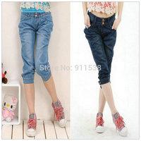 Free shipping 1pcs Harem pants breeches jeans denim shorts plus size knee length trousers female trousers pants #C076