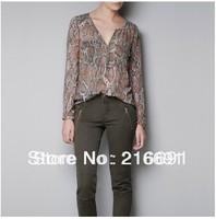 2013 new fashion  Europe women fashion sexy snake printed blouse vintage casual slim v-neck long sleeve shirt #W098