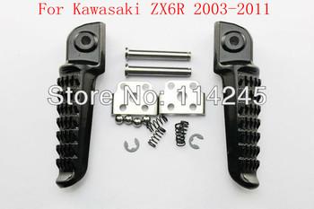 motorcycle parts Rear Foot Pegs Footrest For Kawasaki ZX6R 2003 2004 2005 2006 2007 2008 2009 2010 2011 Black