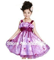free shipping hot girls pageant dresses elegant puffy flower girl dress 5 color 4 size for little girl party and evening wear(China (Mainland))
