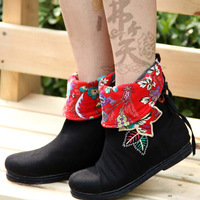 Lady's cotton-made shoe cotton fashion boots embroidered shoes female shoes national trend cotton-padded shoes cloth boots wedge