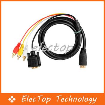 Free shipping HDMI HDTV to VGA 3 RCA Converter Adapter Cable 1080p 50pcs/lot Wholesale