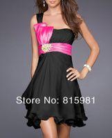 Black with Fuschia Sash One-shoulder CHIFFON  Short Bridesmaid DRESS BRIDAL GOWNS XS S M L XL XXL 3XL