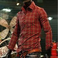 Mens Casual Plaids Shirts New Fashion Items Mens Vintage Shirts Slim Fit Check Shirt Mens