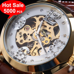 Free shipping,Luxurious Men Skeleton Brown Leather Band Golden Dial Mechanical watch famous name brand watches cheap - White(China (Mainland))